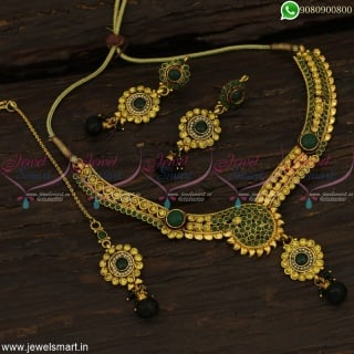 Festive Seasonal Sale Low Price Green and Yellow Necklace Set Maang Tikka Online