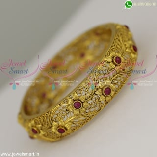 Floral Antique Designer Bangles Gold Inspired Artificial Jewellery Models Online