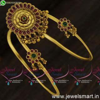 Floral Antique Gold Vanki Designs U Format Traditional Bajuband Shop Online