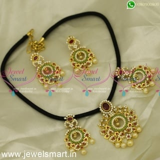 NL24418 Floral Design Silk Thread Jewellery CZ Gold Plated Necklace Set Online