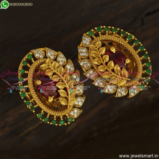 Floral Designer Ear Studs Latest Kammal Models Antique Gold Jewellery Designs ER23820