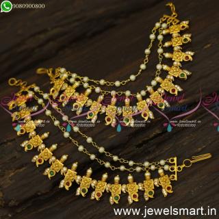 Floral Hair Accessories for Women Champaswaralu Latest Bahubali Ear Chains Mattal Online EC24562