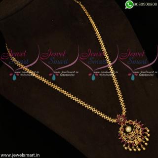 Half Gajri Gold Design Long Chain Chandbali Pendant Wholesale Prices OnlinePS19062