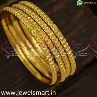 Gajulu Models Set of 4 Gold Bangles Design Comfortable for Continuous UsageB24022