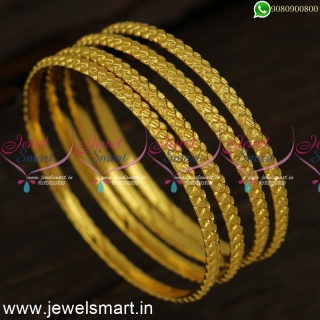 Gajulu Models Set of 4 One Gram Gold Bangles Daily Wear Valayal CollectionsB24331