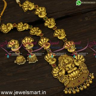 Gallant Antique Gold Long Necklace Marvelous Divine Heavy Temple Jewellery ModelsNL24496
