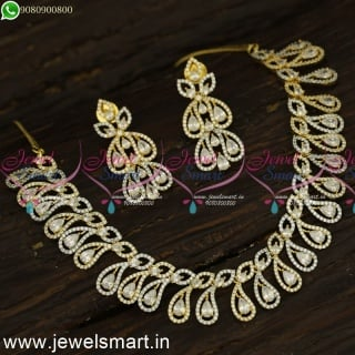 Ganga Jamuna Designer Diamond Necklace Designs Ideas Silver and Gold NL24180