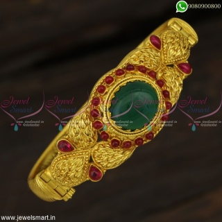 Green Gemstone Look-Alike Hollow Kada Bracelets One Gram Gold Jewellery Traditional Models B22889