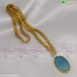 Gemstones Pendant Frame 24 Inches Gold Plated Chain Latest Designs Shop Online CS22766