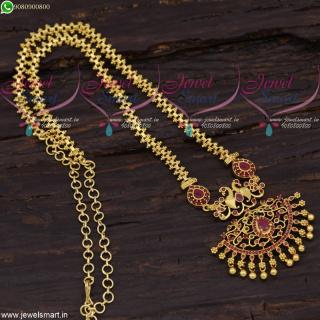 Half Ghajiri Chain Gold Plated Ruby Peacock Pendant South Indian Designs CS21668
