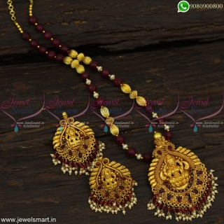 Gheru Reddish Gold Pendant and Earrings With Red and Kharbuja Beads Necklace NL23027
