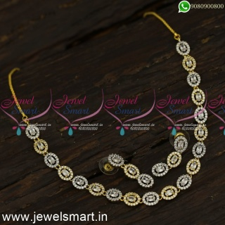 Gleaming CZ Stones Diamond Necklace Designs Latest Pictures Gold Silver DualNL24070