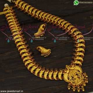 Glorious Bridal Long Necklace South Indian Temple Jewellery Haram OnlineNL22647