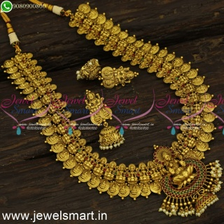 Glorious Laxmi Coin Long Necklace For Wedding Antique Temple Gold U Haram Middle Length