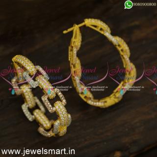 Glowing Bracelet Style CZ Designer Bali Earrings Diamond Catalogue Inspired Artificial Jewellery ER24443