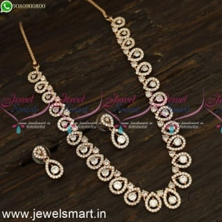 Glowing CZ White Stone Diamond Necklace Designs Ideas Silver  Rose Gold and Oxidised NL24190