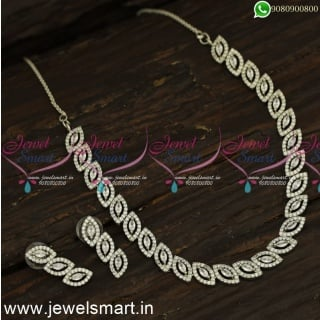 Glowing Eyes Diamond Necklace Designs Latest Rose Gold and Silver Imitation Jewellery NL24247