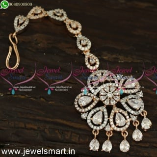 Glowing Rose Gold Maang Tikka Unique Bridal Accessories for Hair Diamond Finish T24090