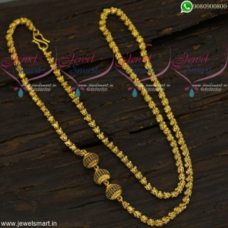 Gold Chain Design With Stone Ball Mugappu Imitation Jewellery Collections Online C21796