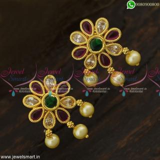 Good Looking Gold Covering Kammal Models South Indian Stud Earrings Screwback ER23322