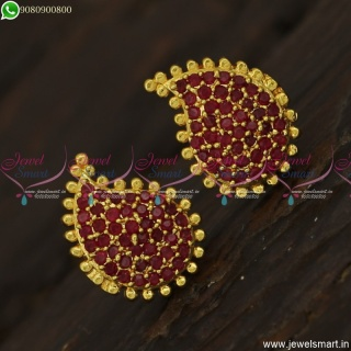 Gold Design Mango Ear Studs Stone Studded Gold Plated Jewellery Online ER23564
