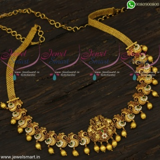 Gold Inspired Temple Jewellery Chain Vaddanam Antique New Collections H22400