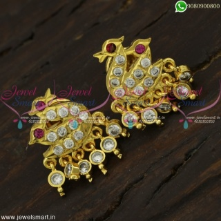 Traditional Gold Kammal Designs Peacock Jewellery New Stone Drops ER22153