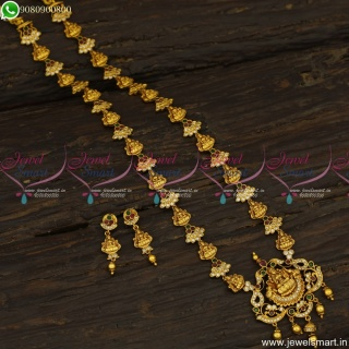 Gold Nagas Design Long Necklace Temple Laxmi God Jewellery Collections NL23537