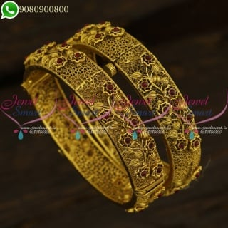 Gold Plated Antique Bangles New Fashion Indian Jewellery Designs
