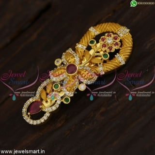 Gold Plated Multi Stone Saree Brooch Latest Design Treditional Collections For Women Online