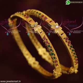 Gold Plated Ruby Emerald Stone Bangles Daily Wear South Indian Collections