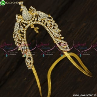 Gold Plated Wedding Jewelery Arm Vanki Peacock Design White Stones Low Price V23466