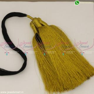 Golden Jari Small Size Accessories for Hair Jadai Kunjalam Simple Low Price OnlineH22807