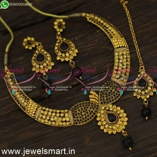 Golden Yellow with Black Stones Fashion Jewellery Set With Maang Tikka NL24084