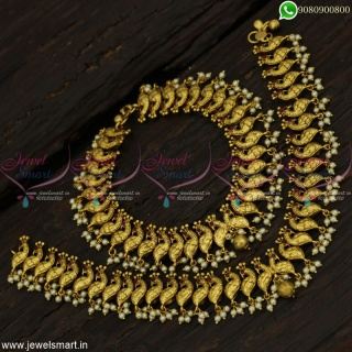 Gorgeous Antique Jewellery Pearl Anklets for Bride Handcrafted Imitation Online A22999