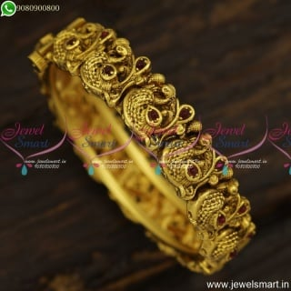 Gorgeous Nakshi Peacock Antique Bangles Bracelet Gold Design Antique Jewellery B23838