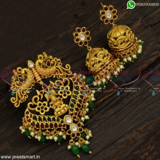 Gorgeous Peacock Temple Pendant Sets Indian Jhumka Earrings Antique Gold Plated PS23060