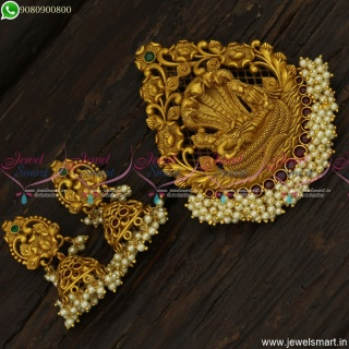 Graceful Big Size Lord Anantha Padmanabha Swamy Pendant Designs With Jhumka Earrings PS23401