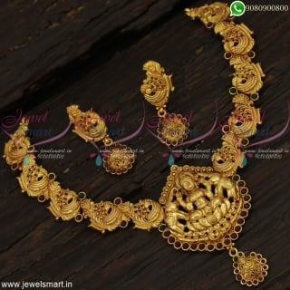 Graceful Gajalakshmi Temple Jewellery Nakshi Necklace Set Reddish Gold Concept NL22710