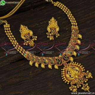 Graceful One Gram Gold Necklace Set Latest Temple Jewellery Ruby EmeraldNL23807
