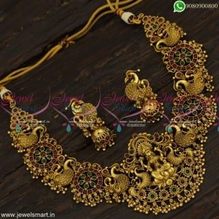 Grandiose Designer Temple Jewellery Lofty Choker Necklace With Jhumka Earrings Online NL23295