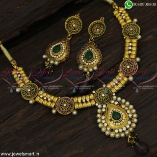Green and Purple Antique Necklace Set Handcrafted High Gold Plating Low Price Online NL22873