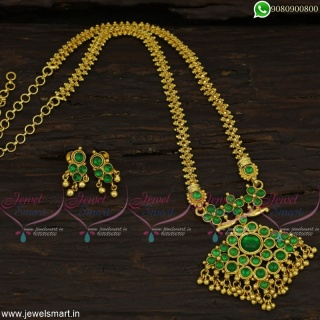 Green Kemp MarvelousOne Gram Gold Jewellery Set Chain Pendant With Ear Studs