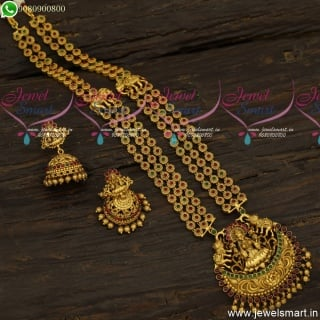 Half Beads Mugappu Long Gold Necklace Antique Temple Jewellery Jhumkas Online NL23928