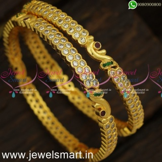 Hand Setting Getti Metal Majestic Diamond Bangles Design AD Stone Gajulu Online