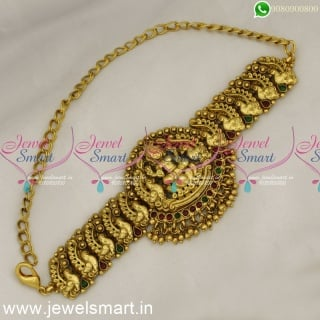 Handcrafted Bridal Temple Jewellery Peacock Vanki Traditional Bajuband Belt Type