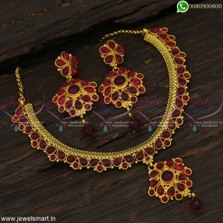 Handcrafted Jewellery Chain Model Gold Necklace Designs Traditional South Indian NL22854