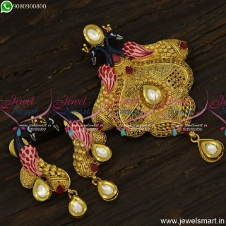 Handpainted Enamel Peacock Awesome Gold Pendant Set Inspired Designs PS23902