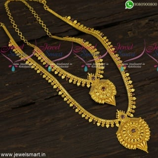 Handpicked Traditional Gold Long Chain Designs With Dollar Matching Short NecklaceNL23938