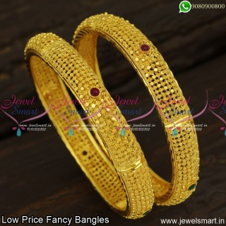 Hollow Set of 2 Latest Fancy Bangles Gold Design In Artificial Jewellery Online B23894